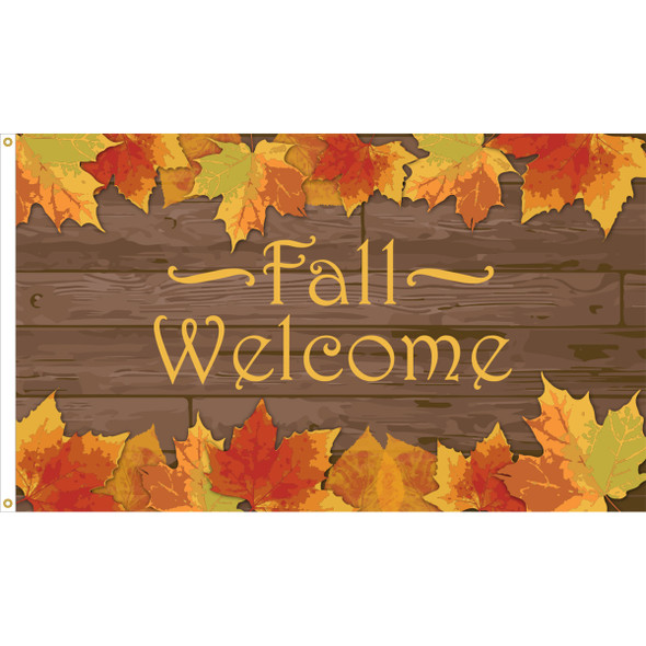 """3' x 5' Nylon """"Fall Welcome"""" Outdoor Flag"""