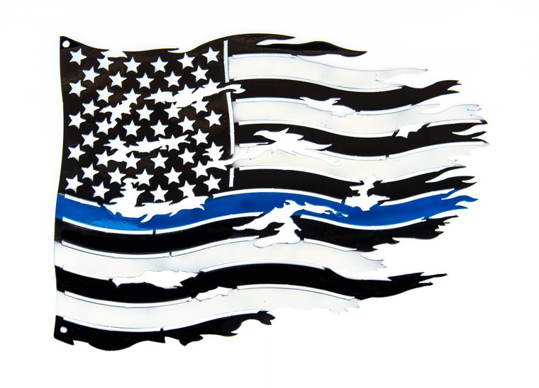 Large Metal Blue Thin Line Tattered Flag