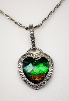 Sterling Silver Heart Shaped Ammolite Pendant with A 11 X 12 mm