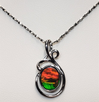 Sterling Silver Wire Ammolite Pendant featuring a 9 X 12 mm Oval Shaped Gemstone