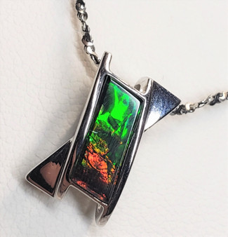 Sterling Silver Abstract Ammolite Pendant featuring a 5 X 12 mm Triplet Gemstone