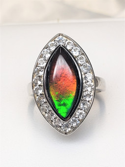 Ladies Sterling Silver Marquis Shaped Triplet Ammolite