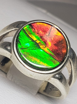 Classic Sterling Silver Triplet Ammolite Ring with a AA Round