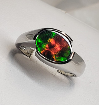 Oval Sterling Silver Triplet Ammolite Ring with AA Oval Ammolite 8x9