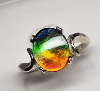Classic Sterling Silver Triplet Ammolite Ring with AA Oval Ammolite 8x10