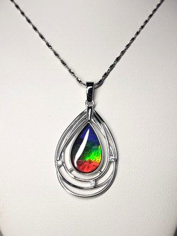 Pear Shape Sterling Silver Triplet Ammolite Pendant with A AAA Ammolite