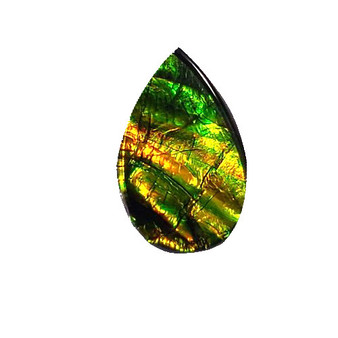 13x22 Ammolite Canada's Opal Pear Shape Triplet Brilliant Ribbons Green & Gold Gemston