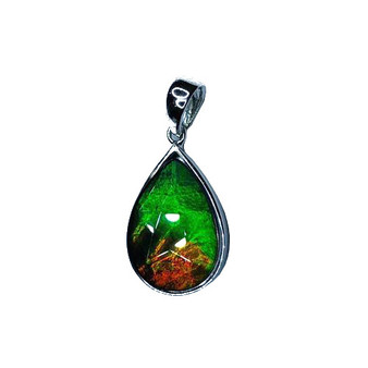 15x10 Ammolite Canada's Opal Triplet Pendant SS Green Orange Gemstone mm #156