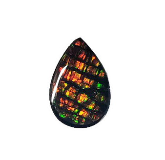 10x15 Ammolite Canada's Opal Pear Shape Triplet 2 Color Green & Orange Gemstone