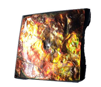 54x54 Ammolite Canada's Opal Square Shape 3 Color Green Red & Gold Hand Specimens