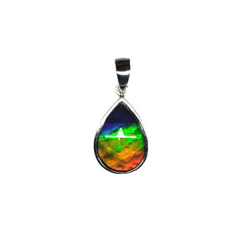 19x12 Ammolite Canada's Opal 3 Color Purple Gold & Green Pendant