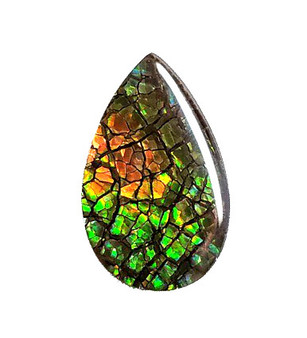22x14 Ammolite Canada's Pear Shape 2 Color Green & Orange Gem 275