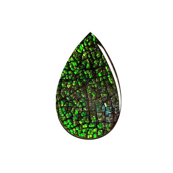 22x14 Ammolite Canada's Opal Triplet Pear Shape Color Green Gem 284