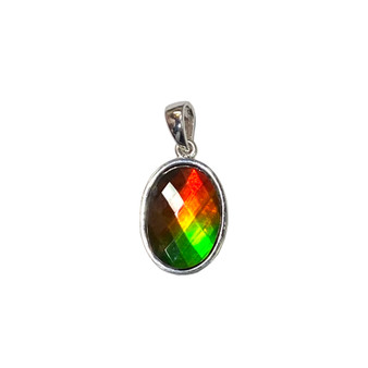 925 Sterling Silver Ammolite Canada's Opal Pendant featuring 14x10 mm Gemstone