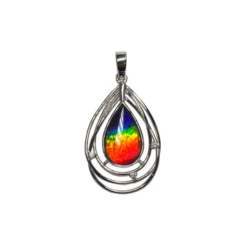 925 Sterling Silver Ammolite Canada's Opal Pendant featuring 18x11 mm Gemstone