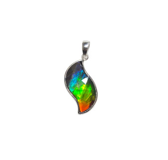 925 Sterling Silver Ammolite Canada's Opal Pendant featuring 22x11 mm Gemstone
