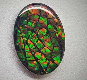 13 x 18 Ammolite Triplet Oval Dragon Skin Deep Green with hints of Red & Yellow