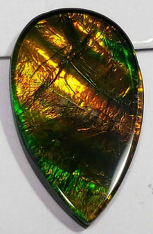 "Ammolite ""Canada's Opal"" Triplet Pear Brilliant Ribbons Green & Gold Gemstone"