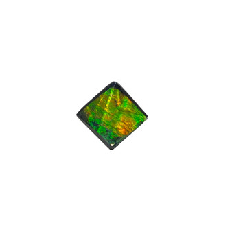 8x8 Ammolite Canada's Opal Faceted Square Deep Green with hints of Orange
