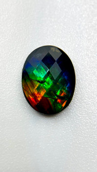 10x8  Ammolite Canada's Opal Triplet Oval Faceted Gemstone With Layers of Color