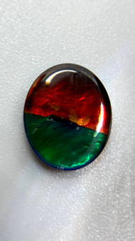 10x12  Ammolite Canada's Opal Triplet Oval Gemstone With Vibrant Teal & Red.
