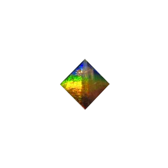 8x8 Faceted Square Deep Green, Red, Blue & Orange and Vibrant Yellow