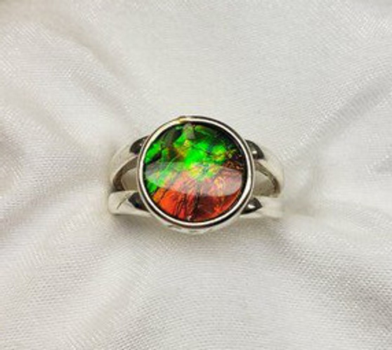 Sterling Silver Size 7 Round 2 Color Orange & Green Ring