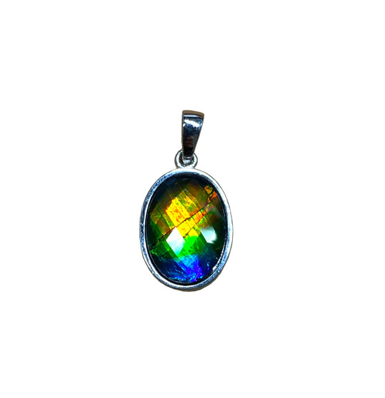 925 Sterling Silver Ammolite Canada's Opal Pendant featuring 14x10 mm Gem