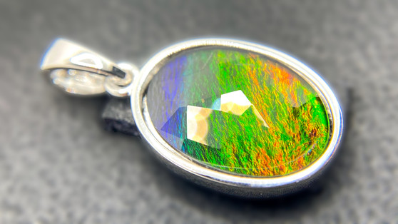 10x13 Oval Ammolite Sterling Silver Pendant featuring a Triplet Gems