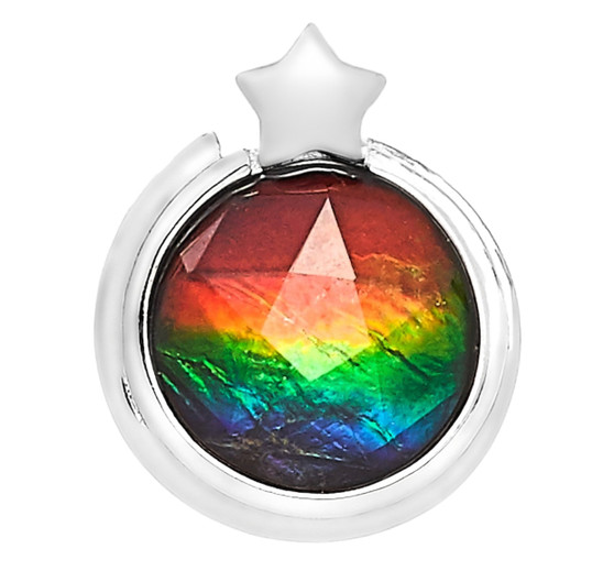 Starr Sterling Silver Round 10MM Faceted Ammolite Gemstone Pendent