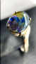 8 x 10 Swirled Sterling Silver Triplet  Ring with An Oval Ammolite