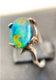Swirled Sterling Silver Triplet Ring with An Oval Ammolite 8 x 10
