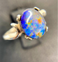 Swirled Sterling Silver Triplet Ring with An Oval Ammolite with Purple