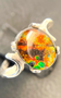 Brilliant Orange Swirled Sterling Silver Triplet Ring with An Oval Ammolite