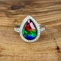 Nikki Sterling Silver Ammolite and White Sapphire Ring 7