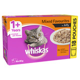 Whiskas Adult Wet Cat Food Mixed Favourites in Jelly 18 X 85g Pouches