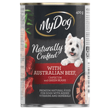 My Dog Naturally Crafted Wet Dog Food Australian Beef, Capsicum and Green Beans 400g Can