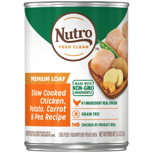 Nutro Adult Natural Wet Dog Food Premium Loaf Slow Cooked Chicken, Potato, Carrot & Pea Recipe