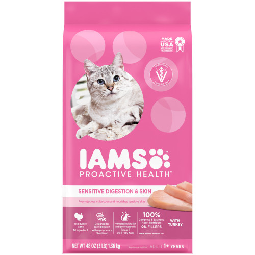 IAMS Proactive Health Adult Dry Cat Food Healthy Digestion with Chicken & Turkey