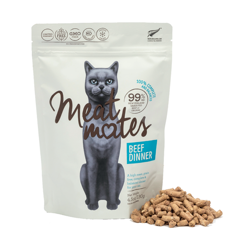 Meat Mates Meow Beef Dinner Grain Free Freeze Dried Cat Food