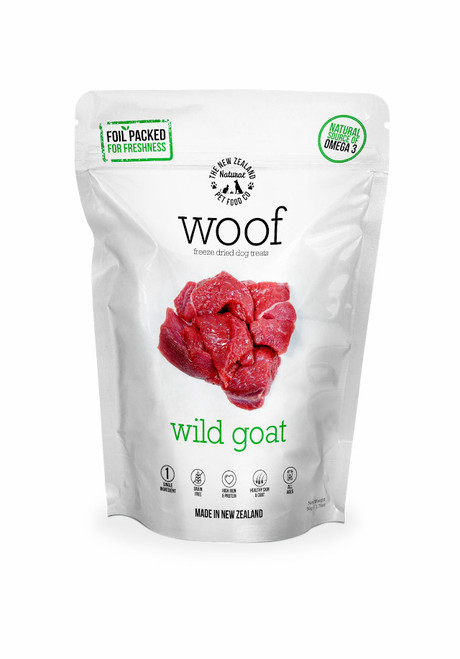 The NZ Natural Pet Food Co Woof Wild Goat Freeze Dried Dog Treats