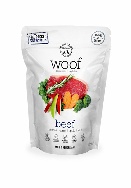 The NZ Natural Pet Food Co Woof Beef Freeze Dried Dog Treats