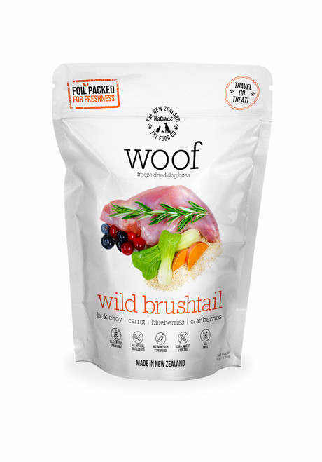 The NZ Natural Pet Food Co Woof Wild Brushtail Freeze Dried Dog Treats