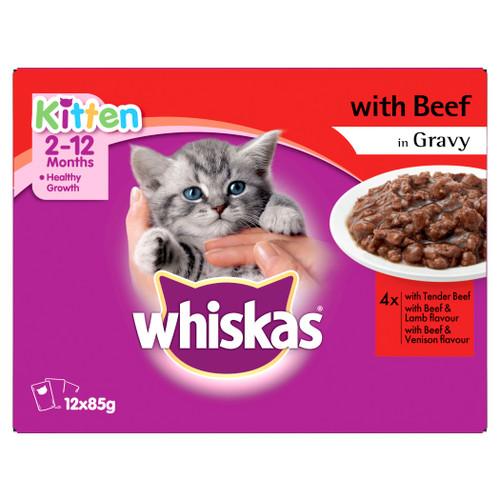 Whiskas Kitten Wet Cat Food with Beef in Gravy 12 X 85g Pouches