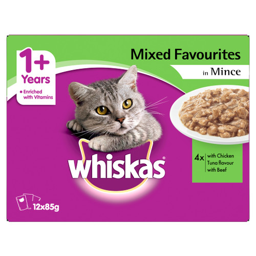 Whiskas Adult Wet Cat Food Mixed Favourites in Mince 12 X 85g Pouches