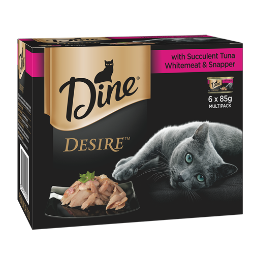 Dine Desire Wet Cat Food Tuna, Whitemeat & Snapper 85g Can