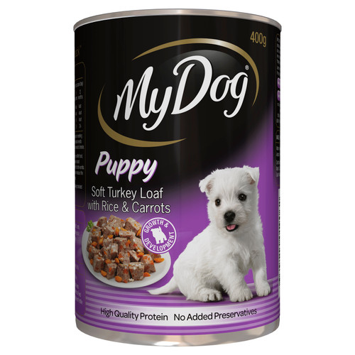 My Dog Puppy Wet Dog Food Soft Turkey Loaf with Rice & Carrots 400g Can