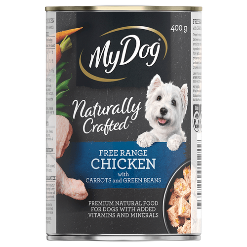 My Dog Naturally Crafted Wet Dog Food Free Range Chicken with Carrots and Green Beans 400g Can