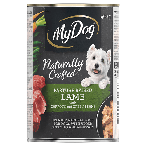 My Dog Naturally Crafted Wet Dog Food Pasture Raised Lamb with Carrots and Green Beans 400g Can