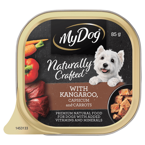 My Dog Naturally Crafted Wet Dog Food Kangaroo, Capsicum and Carrots 85g Tray
